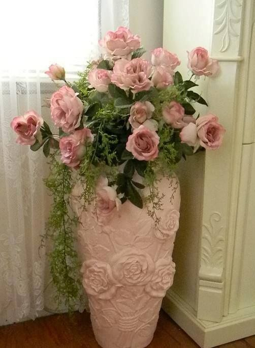 Tall white vase filled with pink roses ~ All the things I Love! Vintage…Shabby… – Savvy Pink Shabby Interiors