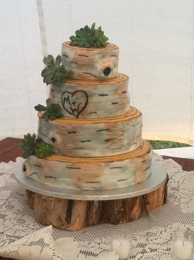 wedding cakes | Rustic Birch Bark Wedding Cake — Round Wedding Cakes