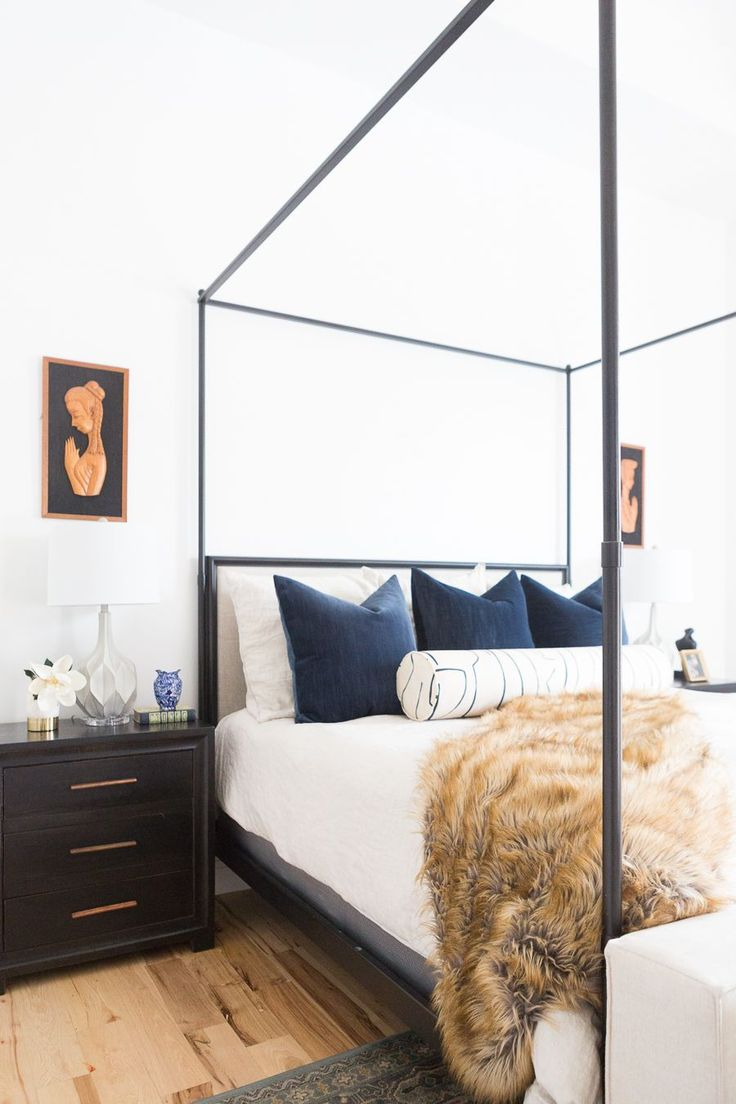 Custom Pillow Ideas from Little Design Co Pillow Shop, beautiful master bedrooms, master bedroom design ideas, fur throws, canopy beds, master bedroom canopy beds, white walls, custom pillows, navy velvet