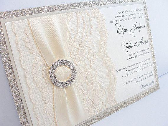 Glitter Invitation Glitter Wedding Invite Lace by LavenderPaperie1