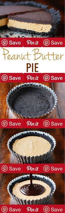 Peanut Butter Pie Vegetarian Condiments 1 5/8 cups Peanut butter creamy Baking & Spices 1 cup Chocolate chips 1 cup Powdered sugar Snacks 1 (14.3 oz) package Oreos whole Dairy 1 cup Butter  cup Heavy whipping cream