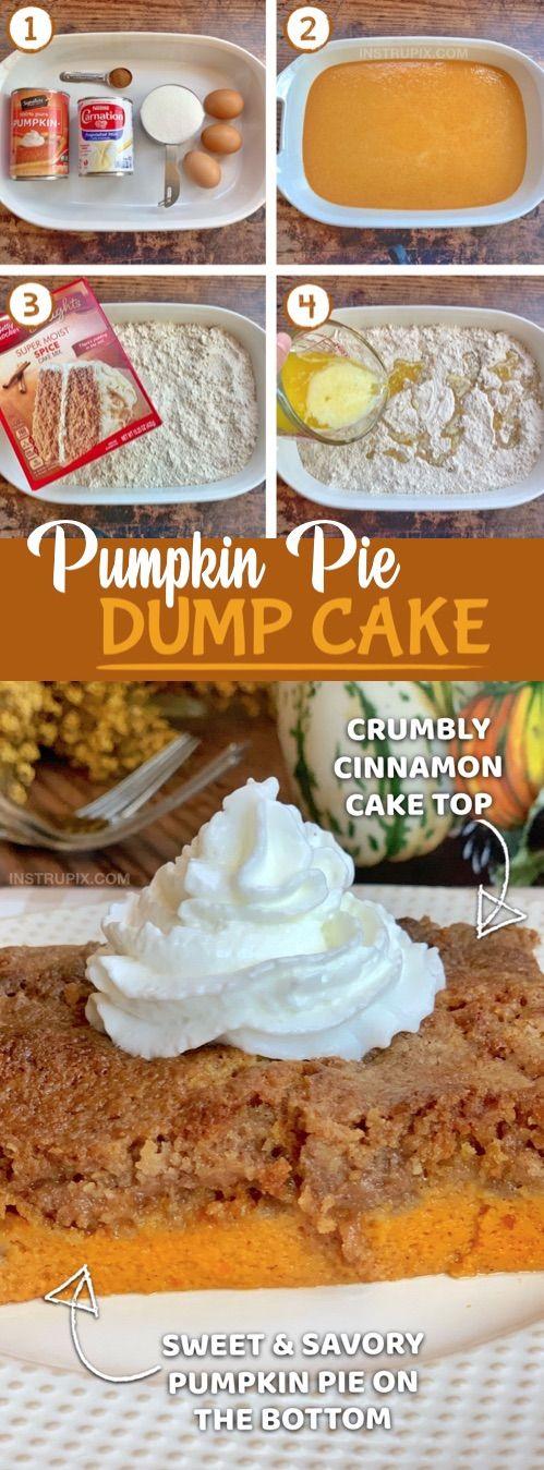 Creative Thanksgiving dessert idea!! Easy Pumpkin Pie Dump Cake (made with spice cake mix).