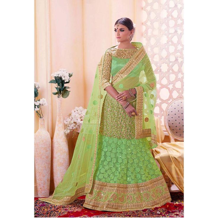 Divine Green Net Wedding #Lehenga Choli- $136.02