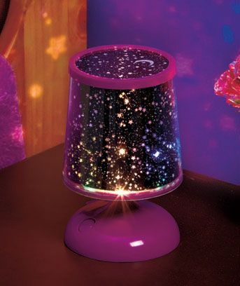 Create a heavenly effect every time you turn on the LED Star Gazing Lamp. It projects stars all around the room. Makes a fun night light for a child's bedroom,