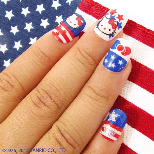 Fourth of July Hello Kitty Nail design