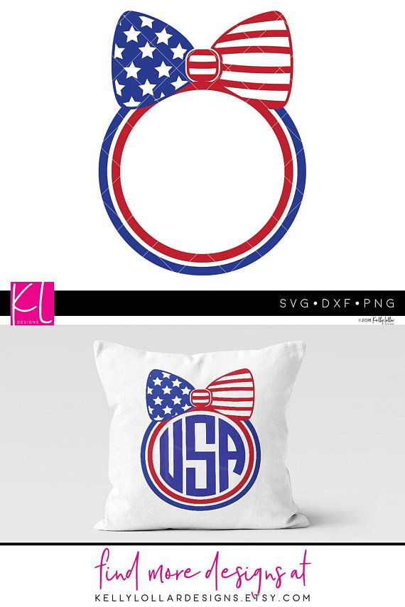 View 4Th Of July Svg Bow Monogram Frames Files SVG