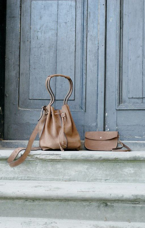 Light brown leather woman bag baggy shape Maja 2 by ladybuq