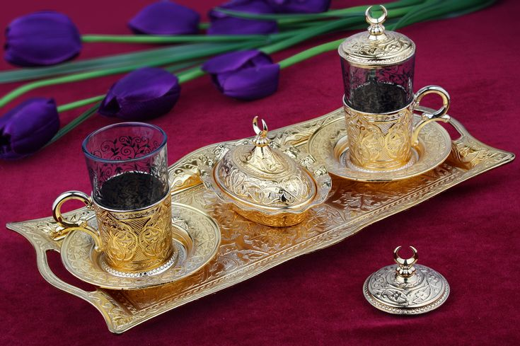 Hediyelik Altın Renkli 2'li Ab-ı Hayat Çay Takımı : Hediyelik Çay Takımları - Duvar Saati | Masa Saati | Kol Saati | Fiyatları ve Modelleri