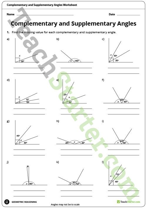 Complementary supplementary and opposite angles worksheet