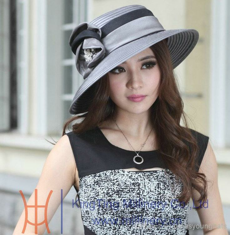 Wholesale Stingy Brim Hats - Buy Fashion New Ladies' Church Hats Satin Fabric Satin Flower 100% Polyester Newly Designed Satin Ribbon Flower...