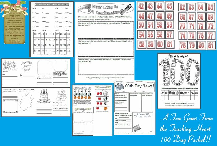Many 100 Days Printables and other ideas and activities found here!!!