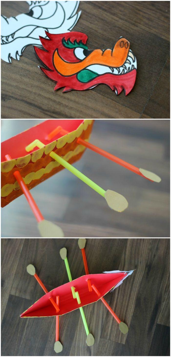 modele origami simple et rapide décoré comme un dragon chinois avec des rames de pailles et une tête de dragon à imprimer et à colorier