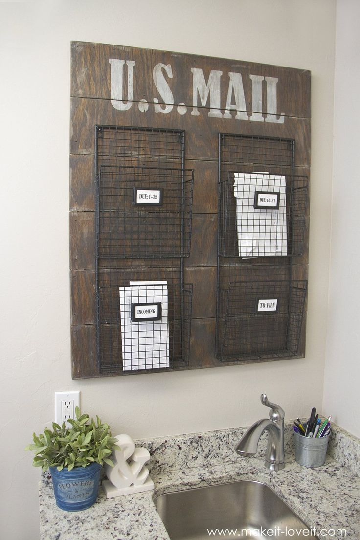 wall mounted mail organizerfrom scrap wood via make it and