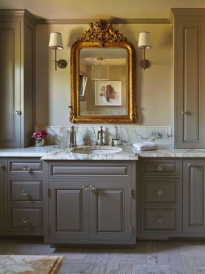 The Master Bath Counter And Floor Are Calacutta Gold Marble The Cabinetry Is Painted Rockport