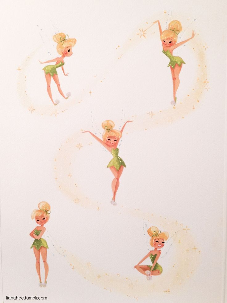 Tiny Tink  13x19 Windsor & Newton gouache and glitter on Arches watercolor block  Liana Hee