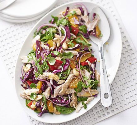 Red peppers, vibrant mandarin segments, deep red cabbage and watercress make for a rainbow-coloured dish to dazzle