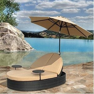 Wicker Double Chaise W Umbrella Patio Lounge Chairs
