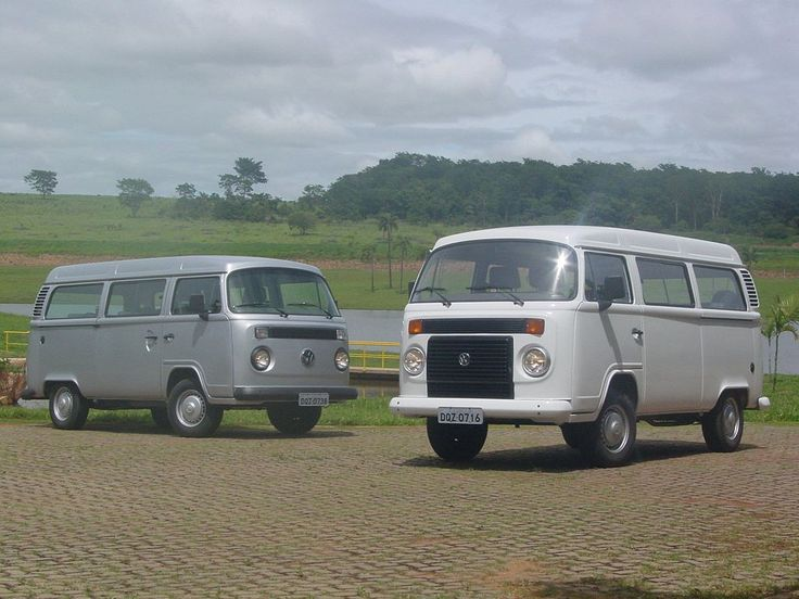 An aircooled and a watercooled VW Kombi (T2), made in Brazil. Model years 2005 and 2006.