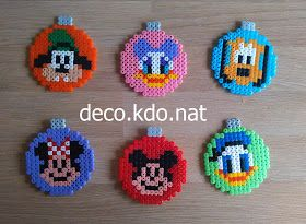 DECO.KDO.NAT: Perles hama: boules de noël mickey et ses amis