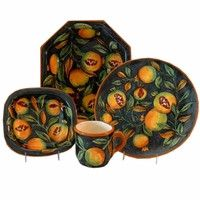 Fruta Verde Mayolica Pottery 4-Piece Place Setting