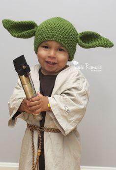 DIY Yoda, pair with the yoda hat from IKEA: Homemade Toddler Yoda Halloween Costume