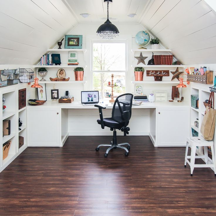 #4 The Attic Makeover Full Room Tour.  This room is my most favorite room I have ever designed.  As I sit here typing this post, looking around at all my favorite things on the shelves of my beautiful attic office, I'm thankful to have been given a chance to make my vision come to life. It's my happy place. | 2017 Year in Review {My Top 10 Best Posts of 2017} - Unskinny Boppy