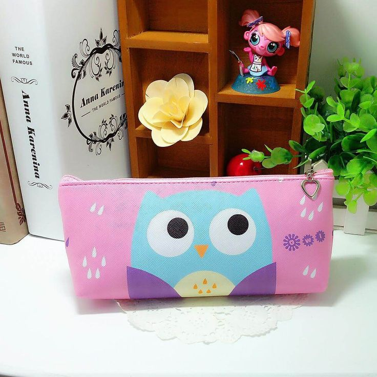Sweet Owl Pencil Case (Pink) #Leather #Pencil-Case #Pink