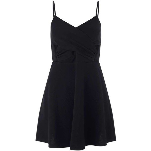 Miss Selfridge Petites Black Skater Dress ($21) ❤ liked on Polyvore featuring dresses, black, petite, petite wrap dress, petite skater dress, cut out dress, miss selfridge and cutout dress