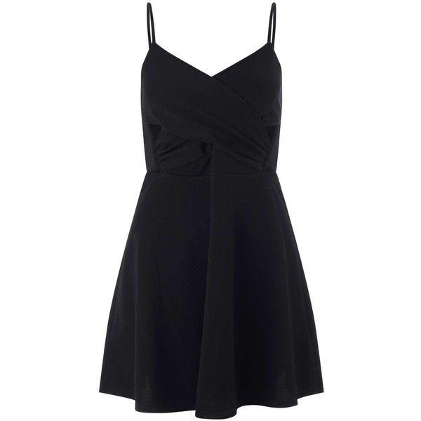 Miss Selfridge Petites Black Skater Dress ($21) ❤ liked on Polyvore featuring dresses, black, petite, petite wrap dress, petite skater dress, cut out dress, miss selfridge and cutout dress