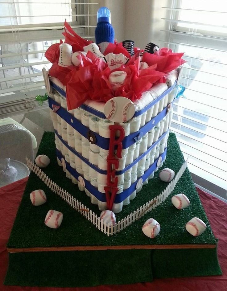 My 1st Diaper Cake. Shaped like a Baseball Diamond.