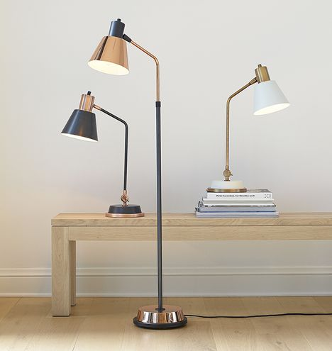 Cylinder arm task floor lamp home lamps and the o 39 jays for Task lighting floor lamp