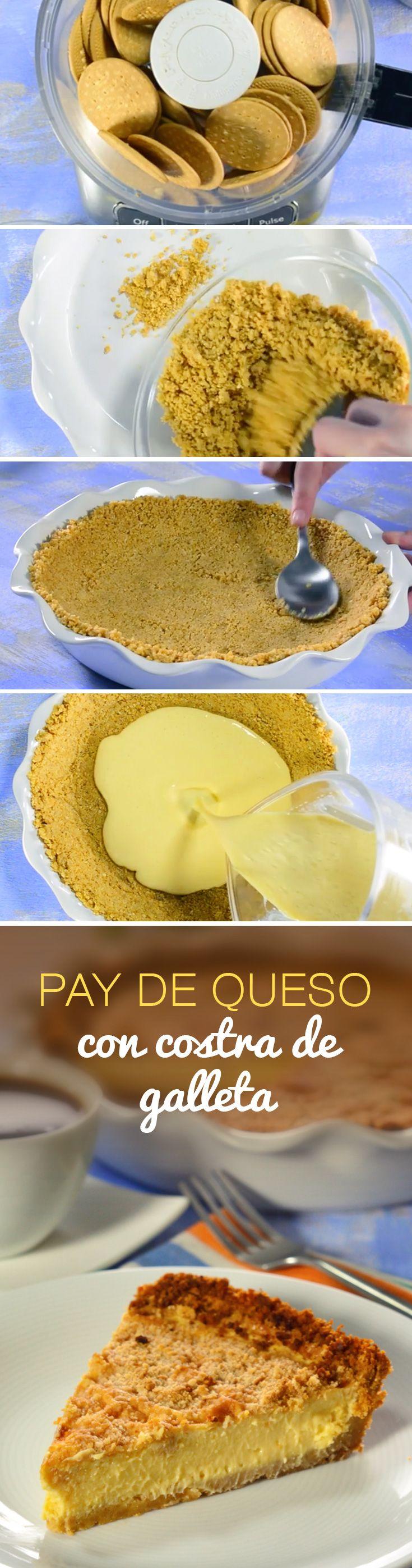 Pay de queso horneado con costra de galleta que conquistará tu corazón y el de toda tu familia