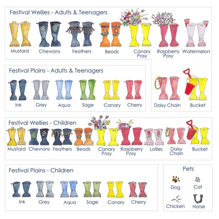Summer Festival Welly Boot Personalised Print