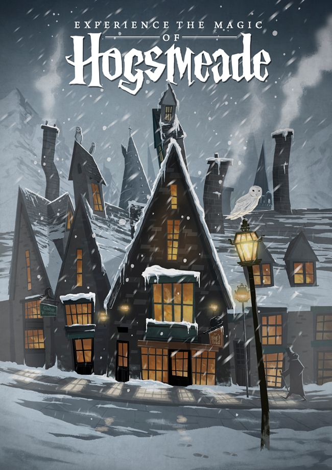 Hogsmeade Travel Poster - Created by Nicolas RixYou can purchase this as a print at the Artist's Shop. You can also follow Nicolas on Tumblr and Facebook.