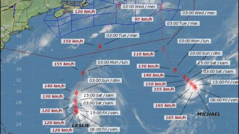 An image from the Canadian Hurricane Centre's website shows the latest tracking information for hurricanes Leslie and Michael. (CANADIAN HURRICANE CENTRE)