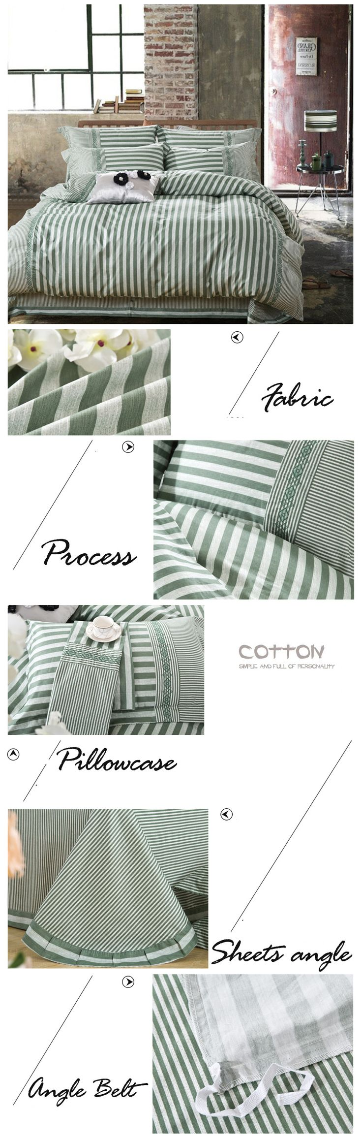 Embroidered Flower bed comforters bed linen cotton luxury bedding striped bedding green bed sheet bedclothes #831|Embroidered bedding sets