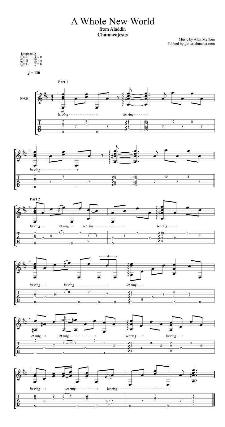 A Whole New World Classical Guitar Tab Guitar Tabs Songs Guitar Chords And Lyrics Guitar Tabs
