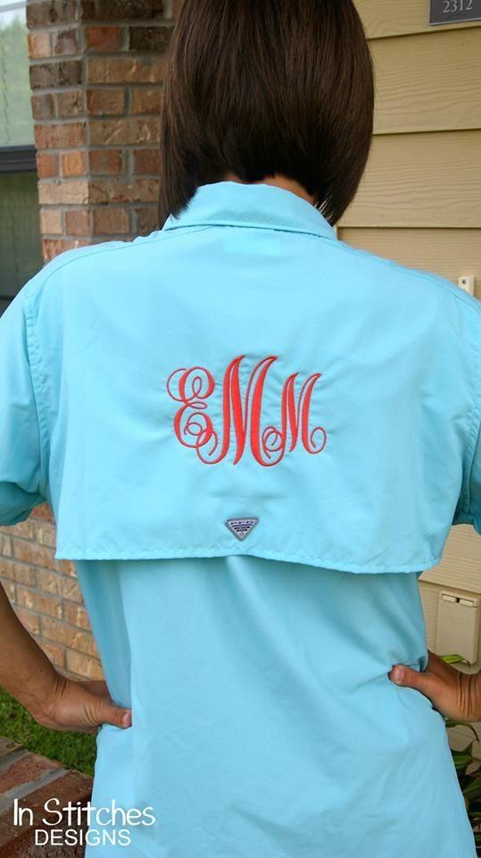 Large monogram on women 39 s columbia fishing shirt for Columbia fishing shirts womens