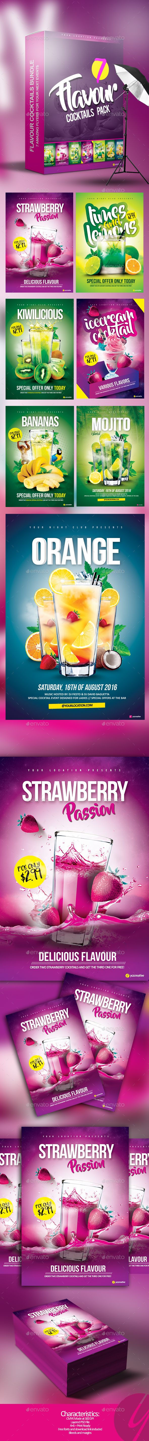 Flavour Cocktails Pack  — PSD Template #vodka #club • Download ➝ https://graphicriver.net/item/flavour-cocktails-pack/18194312?ref=pxcr