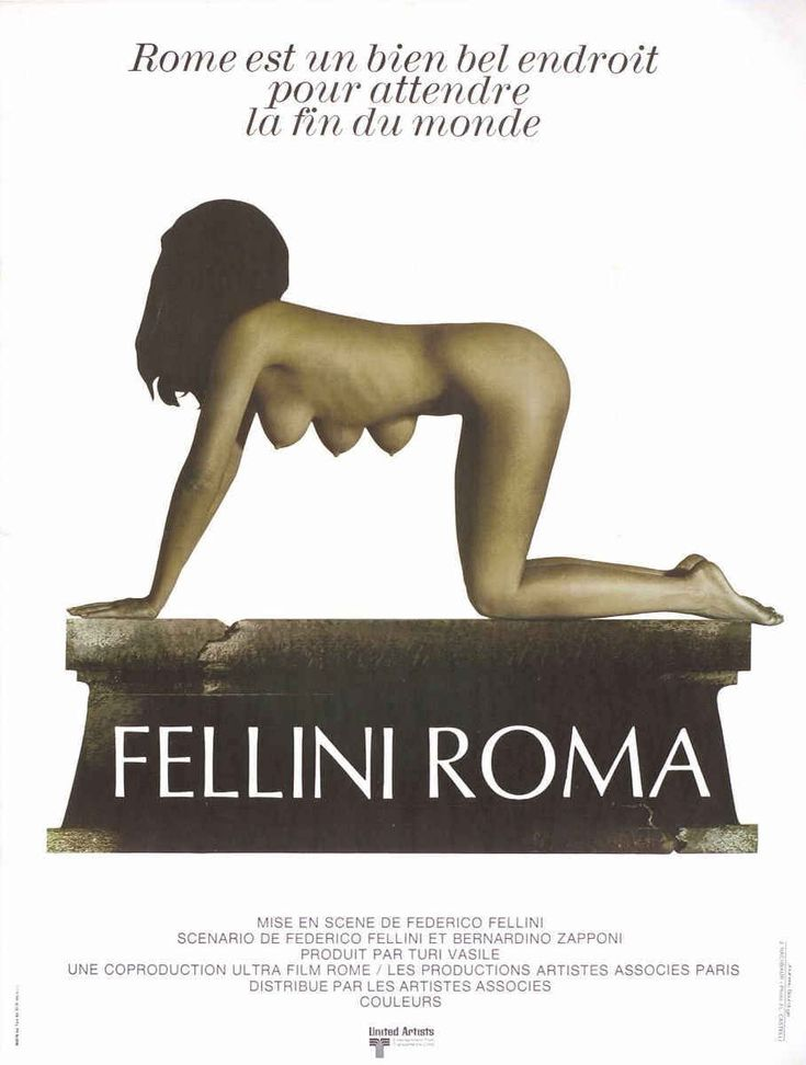 """MP149. """"Fellini's Roma"""" French Movie Poster by Jouineau Bourduge (Federico Fellini 1972) / #Movieposter"""