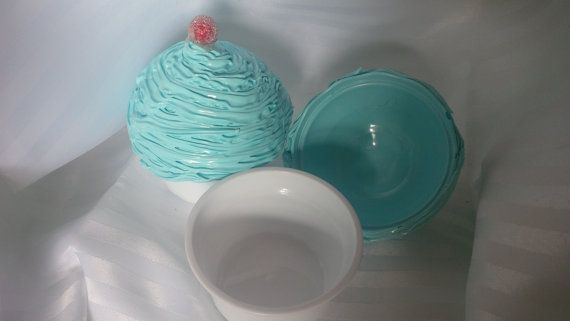 BLUE Faux Cupcake Carrier Box by ReadyMadeGifts on Etsy, $9.99 Would make a beautiful gift!