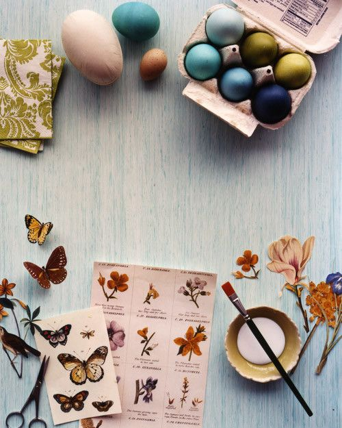 Enliven this season's dozen with more than a dip in pastel dye. Using the simple technique of decoupage, paper cutouts in different patterns and designs are adhered to humble eggs. To find designs, flip through books of prints and take a look in the pantry -- cutouts from paper napkins, butterfly-printed wrapping paper, and traced silhouettes all can dress up eggs and boxes. Beyond that, you'll need little more than decoupage glue and sharp scissors -- or try a few craft punches for ...