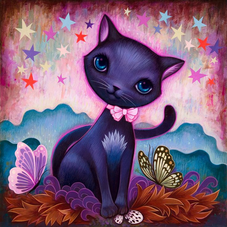 Black Kitty and the scared butterflies, 12 x 12 inches, Acrylic on Wood. ©Jeremiah Ketner 2013