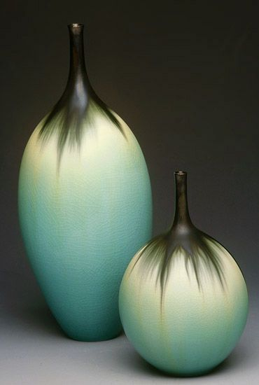 Jan Bilek    Aqua Bottles    Porcelain (not what i usually grab for but look at sexy feathering!)