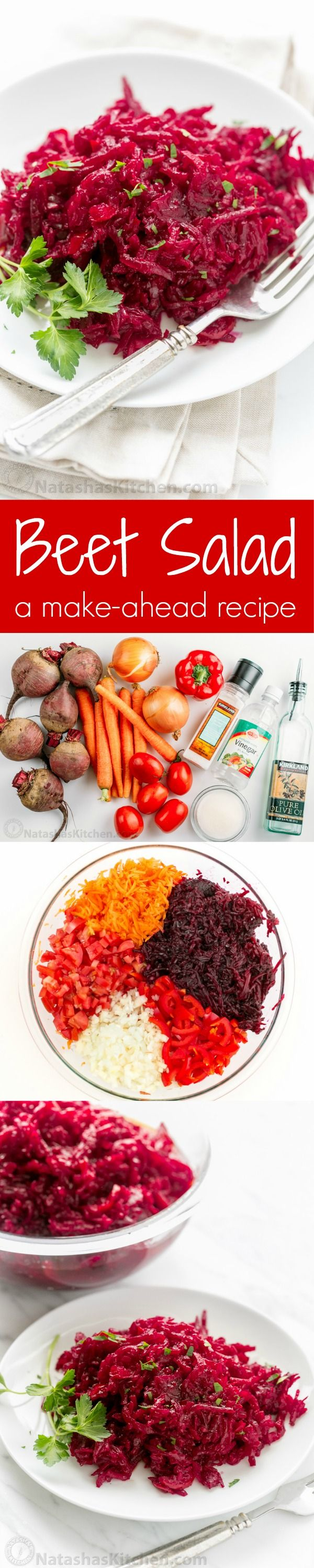 This beet salad is loaded with 3 pounds of beets (super healthy) and the marinade gives it wonderful flavor. Perfect for parties because it's a make-ahead salad that stores really well in the fridge and can even be canned.