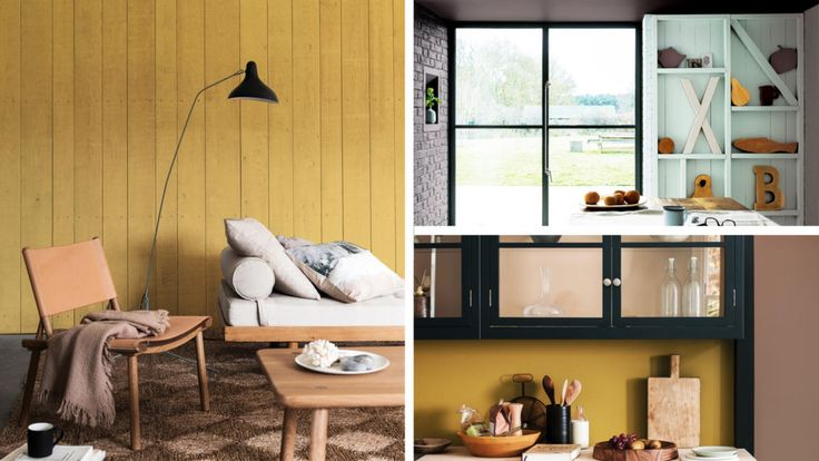 Dulux Colour of the Year | Cherished Gold | Rich interior | Gold interior | Wood Panelled walls | Gold walls | Industrial lighting | Wooden furniture