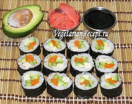 Фото-рецепт вегетарианских суши роллов