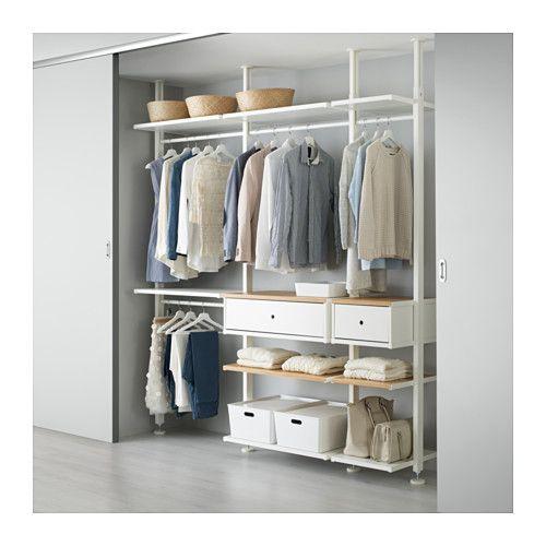IKEA - ELVARLI, 3 elementen, Je kan deze open opbergoplossing altijd naar behoefte aanpassen of aanvullen. Misschien is de voorgestelde combinatie geschikt, anders kan je altijd een eigen maatwerkcombinatie samenstellen.Door de verstelbare planken en kledingroedes kan je de ruimte eenvoudig aanpassen aan de behoefte.Combineer bij voorkeur open en dichte opbergers - planken voor je lievelingspullen en lades voor dingen die je niet in het zicht wilt hebben.De ingebouwde demper vangt de lades…