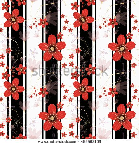 Floral seamless pattern in retro style, cute cartoon flowers  white background…
