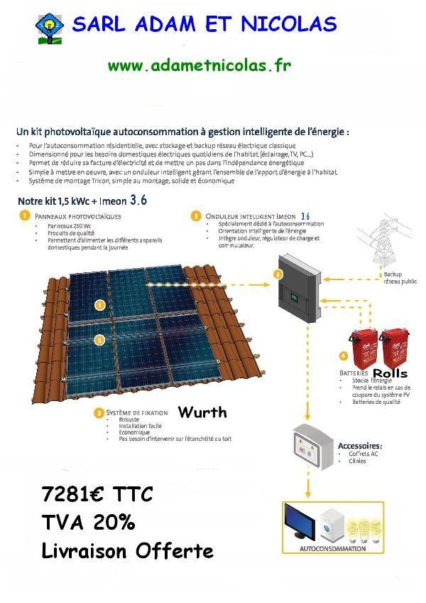 - Kit Photovoltaique Auto consommation 1.5 kWc + Ond Vente en ligne panneaux solaires Vosges - kits photovoltaïques - Installer Panneau Materiel Solaire